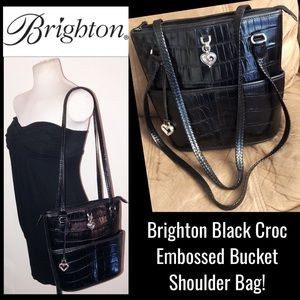Brighton Black Croc Embossed Bucket Shoulder Bag!